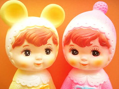 Kawaii Vintage Toy Rubber Doll Girls Cute Pink Yellow Baby Collectibles Retro Japan 1970's (Kawaii Japan) Tags: pink baby cute japan vintage toy japanese costume doll soft rubber kawaii rubberdoll