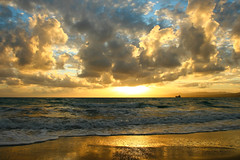 (esther**) Tags: life winter light sunset sea sky sun seascape reflection beach water colors beautiful sunshine clouds landscape island gold golden boat sand bravo scenery holidays europe heaven mare waves sailing view action sunny greece nuvens romantic rhodes greekisland interestingness151 interestingness72