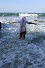 Trash The Dress Series 2 (Ommlette) Tags: beach water train naked nude bride waves bbw weddingdress satin 1980s ttd bareass catherinehillbay trashthedress canon40d bridesbehavingbadly