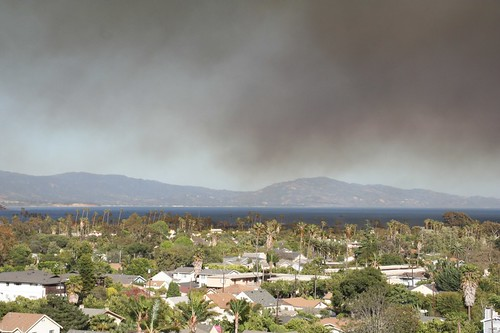 Santa Barbara Wharf and Beachfront with Smoke