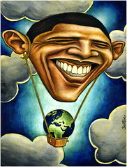 Barack Obama, Save Our Planet (Ben Heine) Tags: world wallpaper money green art cars public ecology smile weather clouds print poster fly bill energy technology unitedstates diesel teeth georgewbush politics jets vert pollution future hopes laugh planes change hotairballoon essence gasoline copyrights sourire economy democrats cli