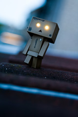 Danbo Patrolling The Roofs (craigmdennis) Tags: longexposure roof lights dof angle 365 danbo 365danbo