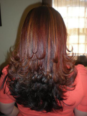 dark brown hair with natural highlights. dark brown hair with natural