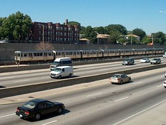 Eastbound CTA blue line train. Oak Park Illinois, August 2006.