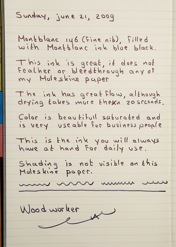 Written review in Moleskine - Montblanc Blue Black