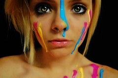Paint Me Beautiful. (Explore!) (ElizabethGrace) Tags: pink blue portrait beautiful yellow self photography eyes paint bb