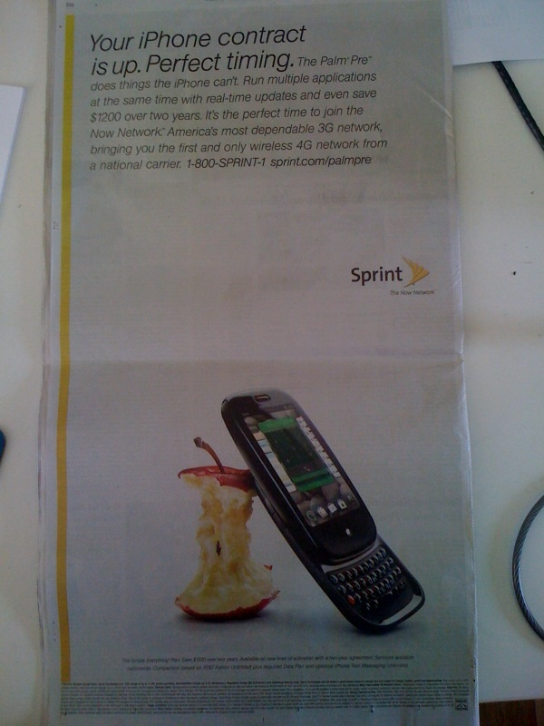 Sprint bit apple pre ad NYT