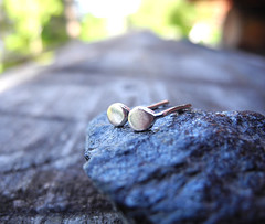 Tiny Silver Drop Earring Studs
