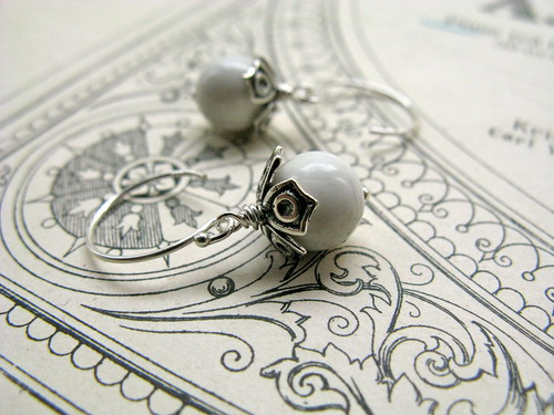 White mountain earrings