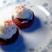 mini red velvet cupcakes with citrus cream cheese icing