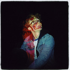 Painted Faces - Nick Gibney (Claire Marie Vogel) Tags: california blue school red portrait people orange color art college valencia strange face animal animals yellow vintage painting lens person weird claire holga lomo lomography exposure paint sitting head painted flash nick arts evil double retro institute plastic nicholas sit demonic seated vignette vogel calarts gibney