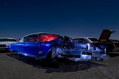 One for the Ghouls (Lost America) Tags: lightpainting abandoned night smash crash fullmoon newport junkyard 1968 chrysler wreck highway395 nocturnes pearsonville