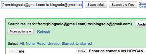Captura de pantalla de una búsqueda en Gmail con los automensajes