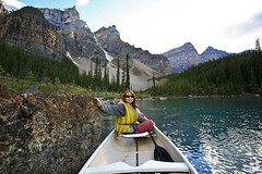 me on Moraine Lake (Liz Faulkner) Tags: road blue trees summer sky blackandwhite canada mountains nature water field clouds rockies golden waterfall amazing cabin scenery jasper skies britishcolumbia turquoise scenic wideangle canoe glacier alberta bow banff gondola wilderness transcanadahighway lakelouise fairmont revelstoke jaspernationalpark athabascafalls rogerspass sulphurmountain athabasca stewartcanyon crazycreek lakeminnewanka morainelake columbiaicefield icefieldsparkway bowlake vermillionlakes valleyofthetenpeaks athabascaglacier 1635mm takakkawfalls crowfootglacier johnsonlake maralake mountnorquay threevalleygap spiraltunnels endlesschain diffanglephoto constellationlake copyrightelizabethfaulknerdiffanglephotolrps