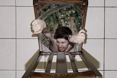 Hanging on (Bobshaw) Tags: portrait photoshop self chair invisible creative surreal impossible