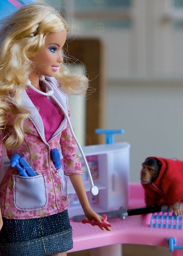 chimp stalks Barbie