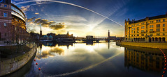 At Days End in Stockholm... (Bruce Wayne Photography (Formerly darth_bayne)) Tags: sweden stockholm canon350d stadshuset settingsun mälaren riksdagshuset helgeandsholmen riddarholmenchurch panoramichdr powmerantusenord