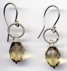 smokey lemon quartz nugget earrings (maianajewel) Tags: smokeyquartz sterlingsilver lemonquartz