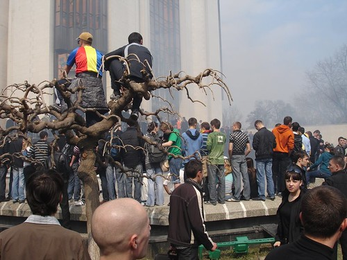 Tinerii privesc din copaci ce se intimpla cu Cladirea Preşedinţiei la 7 aprilie 2009