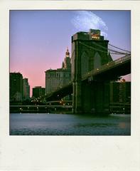 Walk in New York - Polaroid - Brooklyn Bridge and The Manhattan Municipal Building (op_perrin) Tags: nyc bridge newyork polaroid pentax brooklynbridge pont nycbridge poladroid k10d pentaxk10d themanhattanmunicipalbuilding