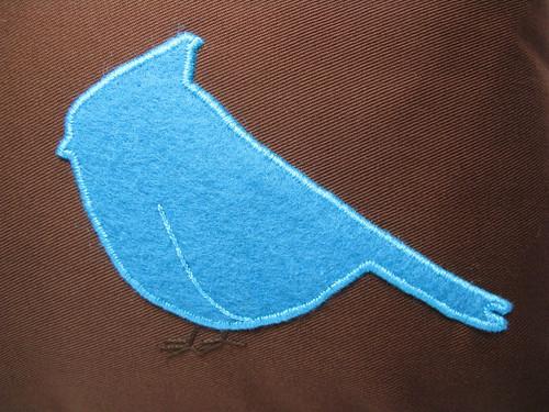 Bluebird of Happiness Pillow - close up