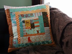 random pillow (flint knits) Tags: orange brown log cabin aqua sewing pillow scraps choraqua