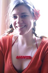 ♥ (missmarybee) Tags: red orange hearts acrylic jewelery helvetica lasercut thisisstar starstgermain clearred