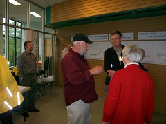 Mayor and councillor talk at open house