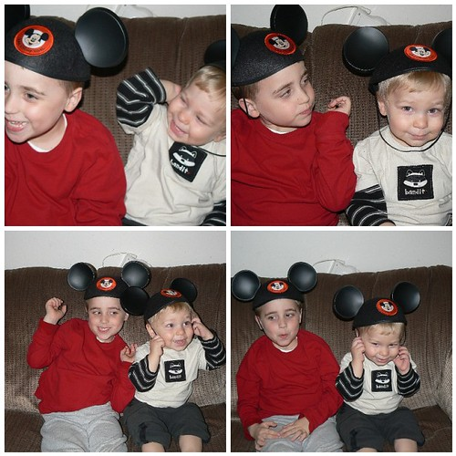 Boys sporting the Mickey Mouse ears