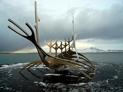 Longship (djemde) Tags: ocean sea 2 mountain snow ice island bay boat iceland reykjavik atlantic arctic viking 2009 longship otw 5photosaday omot