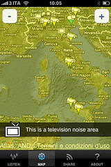 WideNoise: Real Time Detections in Italy (average in showed area)