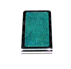 IMG_0741 (Karen Koenig) Tags: blue white black green leather silver stainlesssteel stingray lizard etsy pillbox unearthed moneyclip shagreen