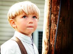 Kyle (intocollidingentropy) Tags: boy portrait brown blur cute up look eyes funny little sweet adorable lips amish hazel blonde suspenders