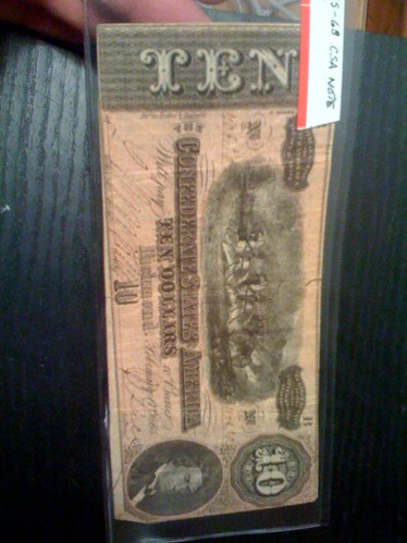 $10 Confederate bill