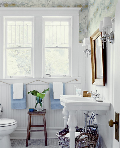 Nautical chic: Beautiful beachy blue + white bathroom + maps wallpaper by xJavierx.