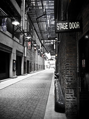 Stage Door (EMENFUCKOS) Tags: door chicago brick movie fire photography lights downtown escape theatre pavement stage n 7 mortar posters abc exit 190 dearborn chicagoist reptition