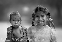 Bright smile (~Ms point of view~) Tags: people india girl smile kids rural blackwhite bright indian vrindavan goverdhan brightsmile d80