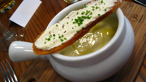 Vichyssoise with Goat Cheese on Toast