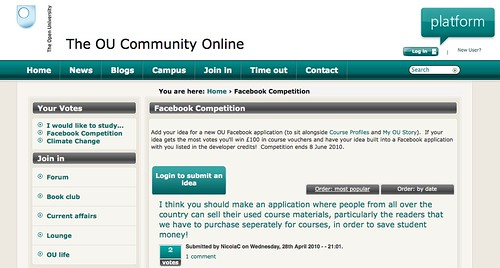 OU Facebook app competition - http://bit.ly/9Dt9nc