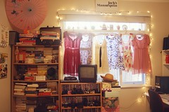 bedroom (pearled) Tags: bedroom books dresses cameras parasol fairylights bookshelves girlsbedroom