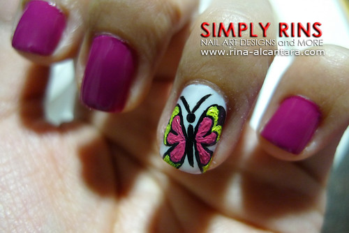 Nail Art Butterfly and Flowers 04