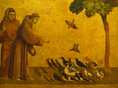 Giotto, St. Francis of Assisi Receiving the Stigmata, c. 1295-1300 with detail of Francis and the birds