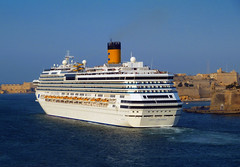 Departure - Costa Concordia (albireo2006) Tags: sea wallpaper costa wow mediterranean background malta cruiseship concordia liner valletta cruiseliner grandharbour costacrociere 5photosaday kartpostal totalphoto v18 costaconcordia valletta2018
