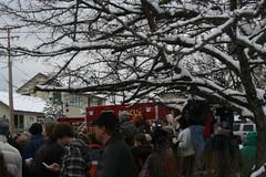 Fire truck in the Trees (Cygnus X1) Tags: people rescue snow water fire trucks firefighters rockford dams algoma rockfordmichigan rockfordevents sweetheartsplash2009