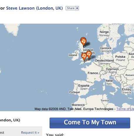 Come To My Town app on facebook for Steve Lawson