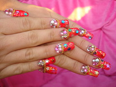 Party Nails (Pinky Anela) Tags: pink blue red green japan japanese star colorful nail chain kawaii nailart