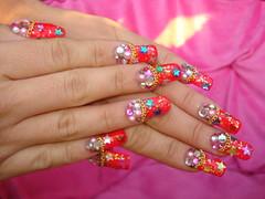 ★Party Nails★ (Pinky Anela) Tags: pink blue red green japan japanese star colorful nail chain kawaii nailart