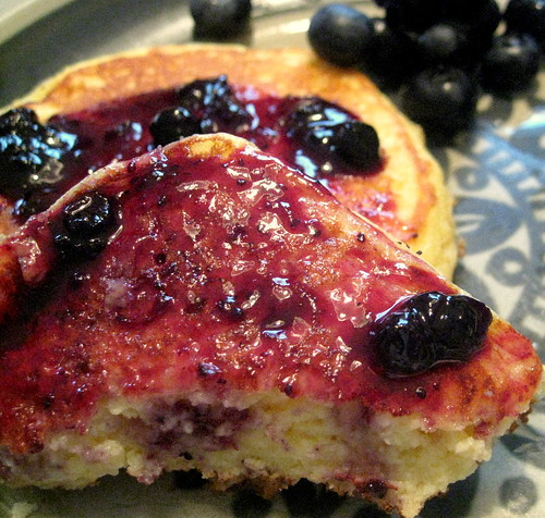 Lemon Ricotta Pancakes with Wild Blueberry Preserves