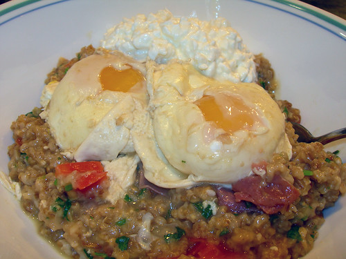 Savory Oatmeal with Poached Eggs