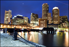 Boston at Night (Michael_Underwood) Tags: city skyline night cityscape nighttime bostonma fortpointchannel bostonist fanpier bostonmassachusetts nikond90 nikon1685vr longexospure